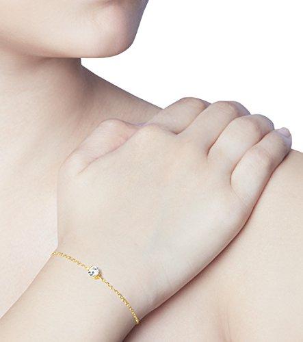 Or Jaune 14 ct Bracelet Diamant en forme de rond, 0.1 Ct Diamant, GH-SI, 1.94 grammes.