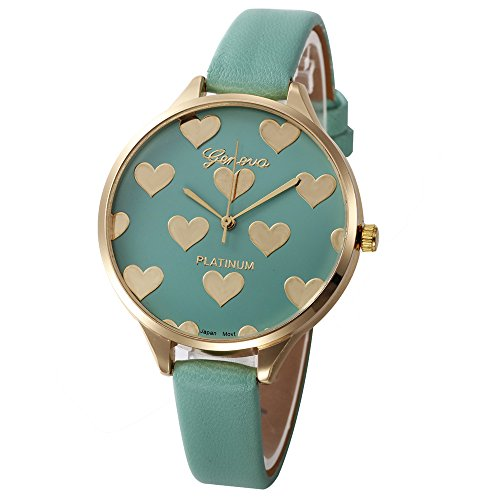 - Women's Quartz Watches, Yamally Ladies Casual Faux Leather Checkers Dial Analog Watch On Green