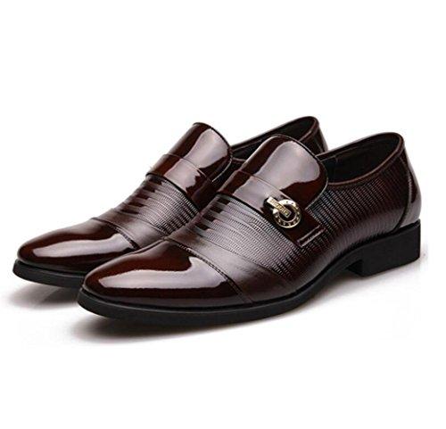 Décontractées Chaussures en Classique Mariage LEDLFIE Hommes Chaussures Business Cuir Brown Chaussures de Dress Véritable gnTA0n