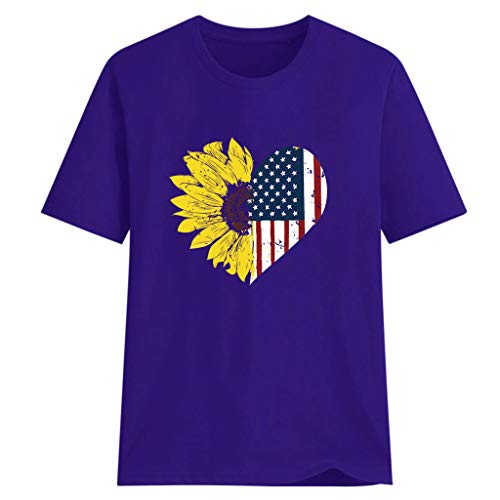 Whear Women's Tops Sunflower Printed Blouse Summer Loose American Flag Short Sleeve T Shirts Casual Round Neck Tunic (Purple, XL) -