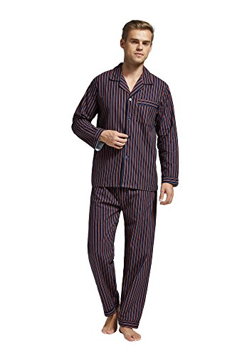 Flannel Pajama Pants Striped (TONY AND CANDICE Men's Flannel Pajama Set, 100% Cotton Long Sleeve Sleepwear (Large, Blue and Brown Striped))