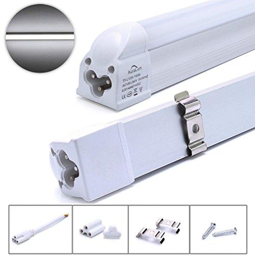 Auralum Réglette LED avec Sopport 16W Lot de 2 Tube Néon LED T5 120CM Fluorescent LED Fluo Lumière Blanc Froid 6000K SMD 3535 Economie D'Énergie
