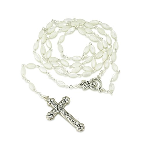 Marina Jewellery Mother-of-Pearl Bead Necklace Rosary, Virgin Mary Center,Silver Plate,Hearts Crucifix