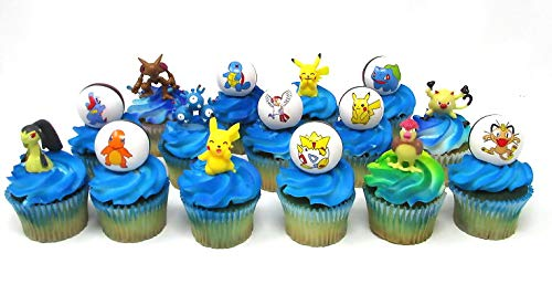 Pikachu Birthday Cupcake Topper Set Featuring Pikachu and Friends Figures and Decorative Themed Accessories by Cake Topper