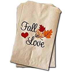 "Fall in Love - Wedding Candy Bags - Wedding Favor Bags - Engagement Party, Bridal Shower, Rehearsal Dinner Treat Bags - 6.25"" x 9.25"" - Fall Colors, Rustic Wedding (20 pack)"