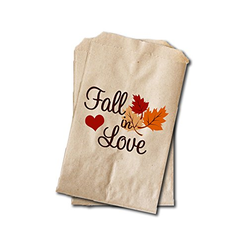 Fall in Love - Wedding Candy Bags - Wedding Favor Bags - Engagement Party, Bridal Shower, Rehearsal Dinner Treat Bags - 6.25
