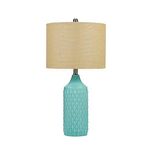 Catalina Lighting 21424-000 Transitional 3-Way Geometric Quilted Ceramic Table Lamp with Linen Shade, 26.5