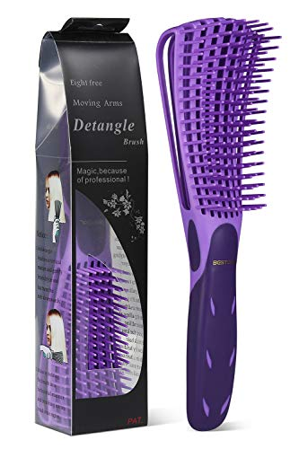 BESTOOL Detangling Brush for Natural Hair, Detangler for three/4abc Curly, Coily, Kinky Hair, Detangle Wet/Dry Easily with No Pain (Purple)