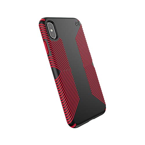 - Speck iPhone Xs Max Case, Protective Grip Ultra Thin Slim Hardshell Anti Scratch Presidio Cover Case - Black/Dark Poppy Red