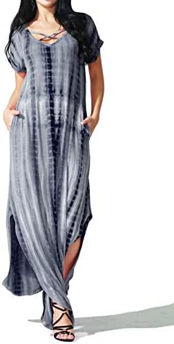 Prime Hot JayJay Women Casual Maxi Stripe Print Spagetti Strap Pocket Long Dress