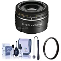 Sony 30mm f/2.8 DT AF Macro SAM Lens for Alpha A DSLR Mount Cameras - Bundle with 49mm UV Filter, Cleaning Kit, Capleash II