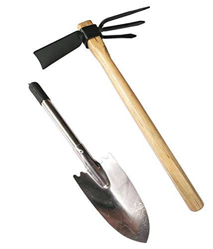 Diligent Farmer Edward Tools Hoe and Cultivator Hand Tiller - Carbon Steel Blade - Heavy Duty for loosening Soil, Weeding and Digging - Rubber Ergo Grip Handle - Rust Proof