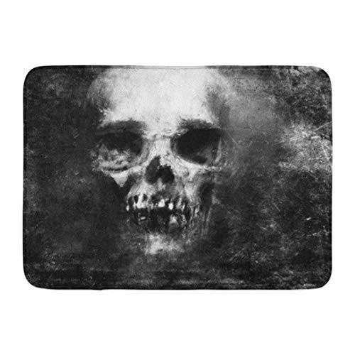 Emvency Doormats Bath Rugs Outdoor/Indoor Door Mat Face Scary Skull Halloween Metal Death Pattern Devil Monster Bathroom Decor Rug 16