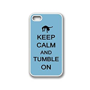 Keep Calm And Tumble On Coral Floral - Protective Designer BLACK Case - Fits Apple iPhone 4 / 4S / 4G