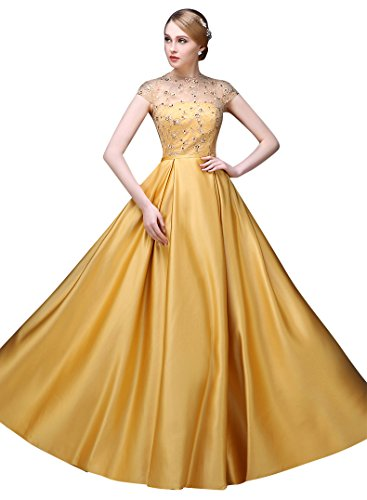 Linie Beauty Abendkleider Gold Spitze Emily O Rückenfrei A Ansatz mit Kurzarm XrXqx1