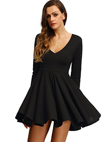 OEUVRE Women's Sexy V-neck Pleated Skater Party Dress Black 8