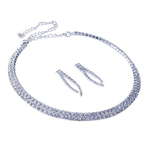 Gold Rings Wishbone (Stuffwholesale Silver Crystal Rhinestone Choker Necklace with Wishbone Shape Stud Earring Jewelry Set (Style #5))