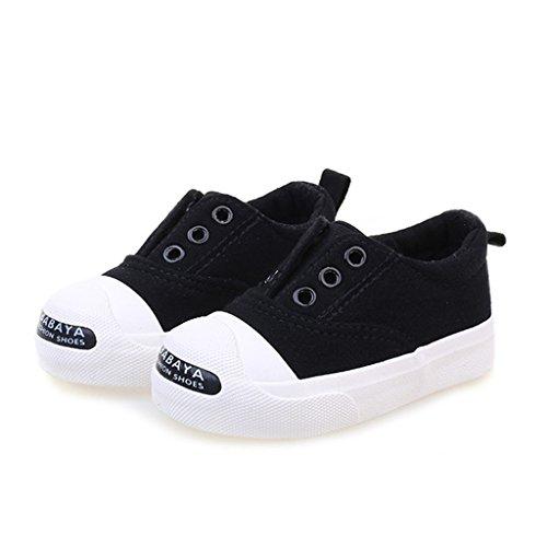 ALUK- Zapatos de bebé - Zapatos de lona para niños ( Color : Rojo , Tamaño : 27 ) Negro