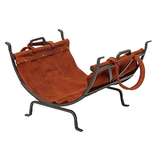 UniFlame Olde World Iron Log Holder with Suede Leather Carrier (Holder Log World)