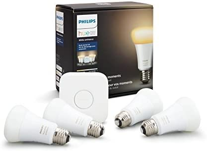 Philips Hue White Ambiance Smart Light Bulb Starter Kit