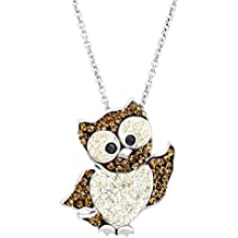 Owl Pendant Necklace with Swarovski Crystals in Sterling Silver