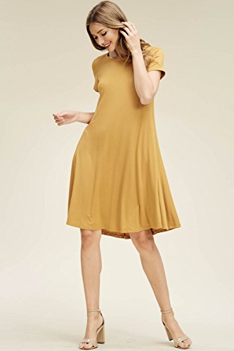 Sleeve Women's Comfy Annabelle Short Pockets Swing Scoop Bronze with Dresses Neck xtFnTqaw