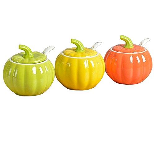 - Colias Wing 9.5 OZ Cuddly Pumpkin Shape Stylish Design Spice Jar Bottles Seasoning Bottle Condiment Storage Container Salt Sugar Cruet with Lid & Spoon -Set of 3(Green+Yellow+Orange,No Include Tray)