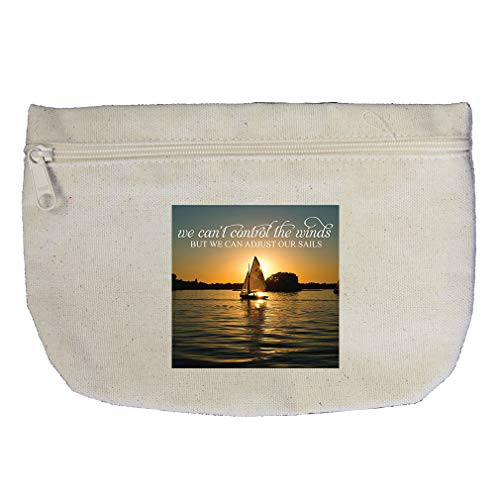 (Sailing Control the Winds But We Can Adjust Our Sails Cotton Canvas Makeup Bag)