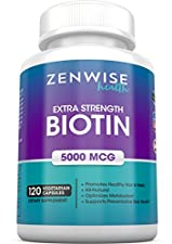 Biotin With 5000 MCG - Extra Strength Vitamin B-Complex Supplement to Improve Hair Growth, Improve Skin Health & Have Thicker Nails - 120 Vegetarian Capsules