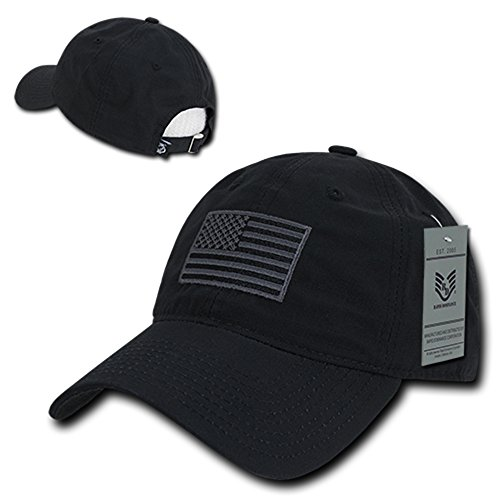 Buckle Closure Cotton Cap (Rapid Dominance American Flag Embroidered Relaxed Cotton Adjustable Cap - BLACK)