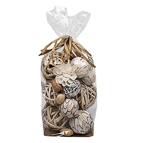Jodhpuri Decorative Vase Fillers for Centerpieces – Weave and Solid Plastic Sphere Bowl Mix for Table Décor – White with Beige Rattan – 18 Assorted Pieces by Jodhpuri