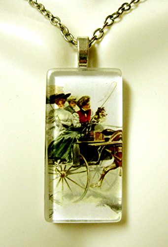 (Riding with my Collie glass pendant - DGP02-419 - Harrison Fisher)