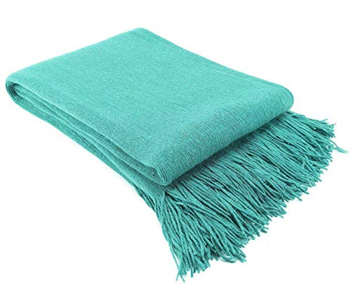 LAGHCAT Solid Blanket Cross Woven Couch Throw Christmas Knitted Blankets with Decorative Fringe Lightweight for Bed or Sofa Decorative, 51 x 67 Inch, Green