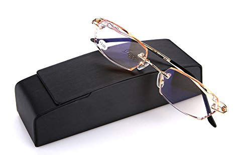 SOOLALA Womens Gradient Tea Lens Diamond Cut Edge Frameless Reading Glasses with Rhinestones, x1.0 (Buy Prescription Glasses Online)