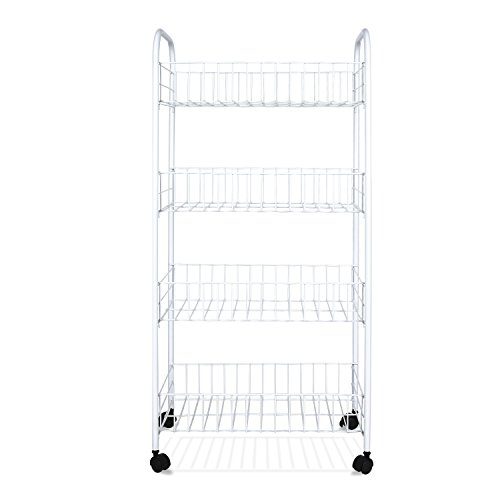 Homfa 4-Tier Wire Rolling Cart, Deep Storage St...