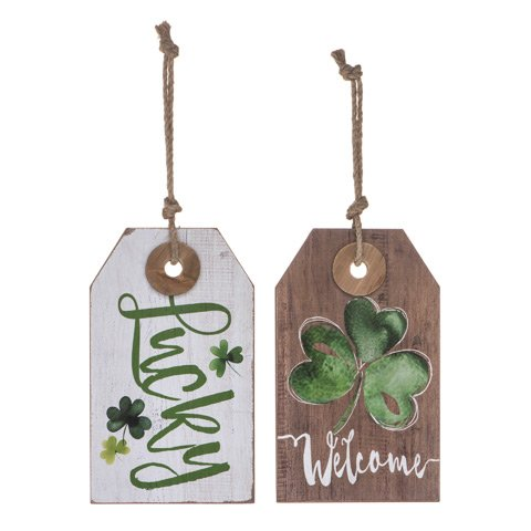 Happy St. Patrick's Day Decorations - Hanging Signs for Wall or Shelf Decor