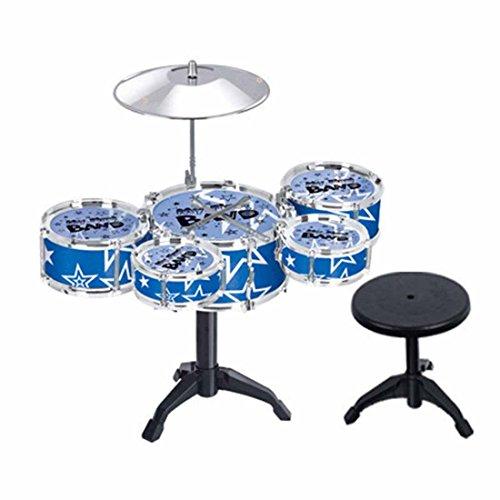 Finer Shop Kinder Kid's Jazz Drum Set Musikinstrument Toy Spielset Mit 5 Trommeln, Becken, Ständer, Hocker, Drumsticks - Blau