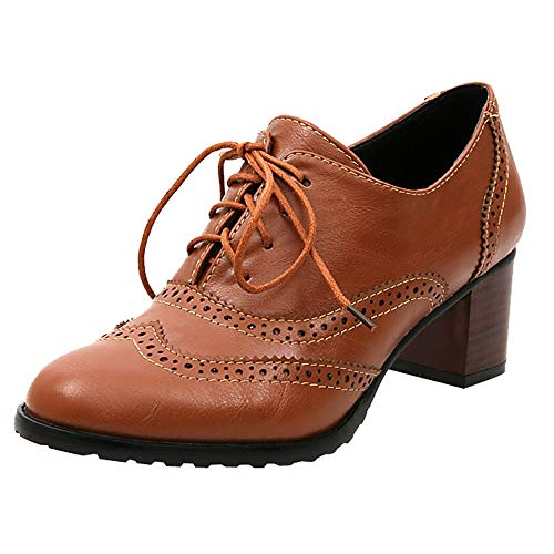 FORUU Fashion Women's Hollow Shoes Shallow Mouth Single Shoes Thick Heel Shoes Brown