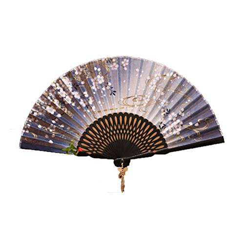 GWXLD Folding Fan - Printed Bamboo Summer Set Business Gift Collection Wall Decoration C