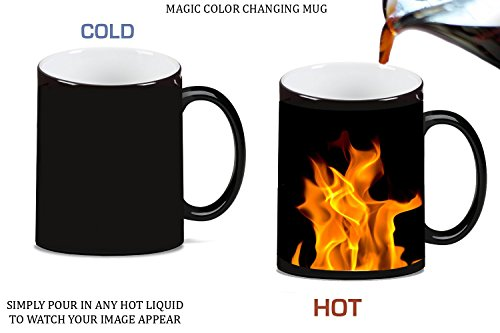 On Fire Hot Burn Burning Flame Magic Color Changing Ceramic Coffee Mug Tea Cup by Moonlight Printing