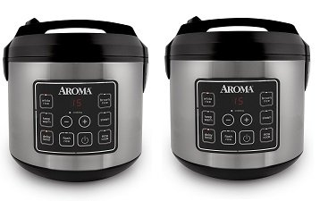 Aroma Housewares 20 Cup Cooked (10 cup uncooked) Digital Rice Cooker, Slow Cooker, Food Steamer, SS Exterior (ARC-150SB) (2-(Pack))