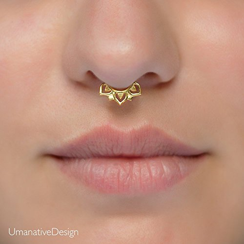 Tiny Fake Septum Nose Ring, Indian Faux Gold Plated Brass Clip On Non Pierced Septum Hoop, Lotus Shaped, 18g, Handmade Piercing Jewelry by Umanative Design