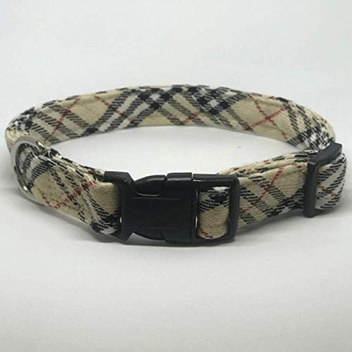 Plaid Dog Collars - 3 Boys Plaid, Tan Plaid (burberry-like), Medium 12-18 inches 3/4 inch wide (Boutique Dog Collars)