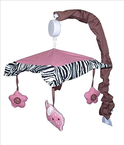 Mobile Musical Pink Zebra - Musical Mobile for Pink Zebra Baby Bedding Set