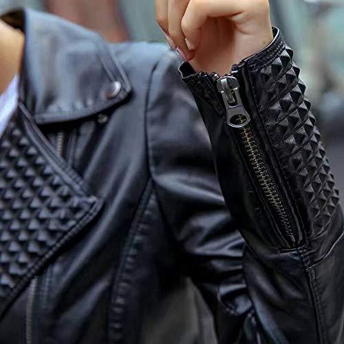 Manteau xl Personnalité La Xsqr Pu Rivet En Revers Cuir black Veste Vêtements Femmes Paragraphe Slim Gaufrage Coupe De Locomotive Court Des Pour PH1Pvw