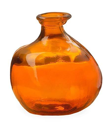 (Bubble Recycled Glass Balloon Vase, 6.25 Dia x 7 H - Orange)