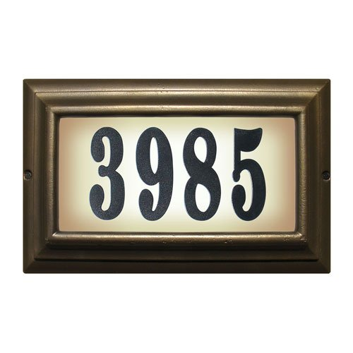 Qualarc LTL-1301ORB-PN Edgewood Large Lighted Address Plaque in Oil Rub Bronze Frame Color with 4-Inch Black Polymer Numbers