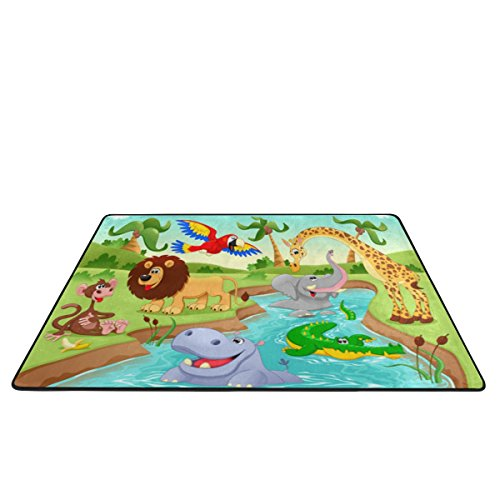 My Little Nest Cartoon African Jungle Animals Kids Play Mat Baby Crawling Carpet Non Slip Soft Educational Area Rug for Living Room Bedroom Classroom 4' x 6' by My Little Nest (Image #2)