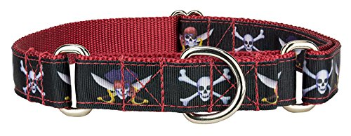 Country Brook Design Jolly Roger Ribbon Martingale Dog Collar - Large