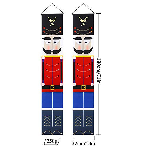 Gyrategirl Nutcracker Christmas Decorations - Nutcracker Banners - Life Size Soldier Model Nutcracker Porch Signs - Xmas Decor Banners for Indoor & Outdoor Wall Front Door Apartment Party (B-1pc)